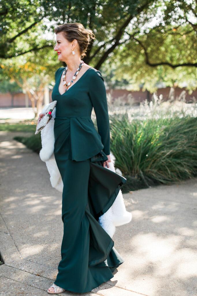 Badgley Mischka deep emerald black tie dress with ruffle detail