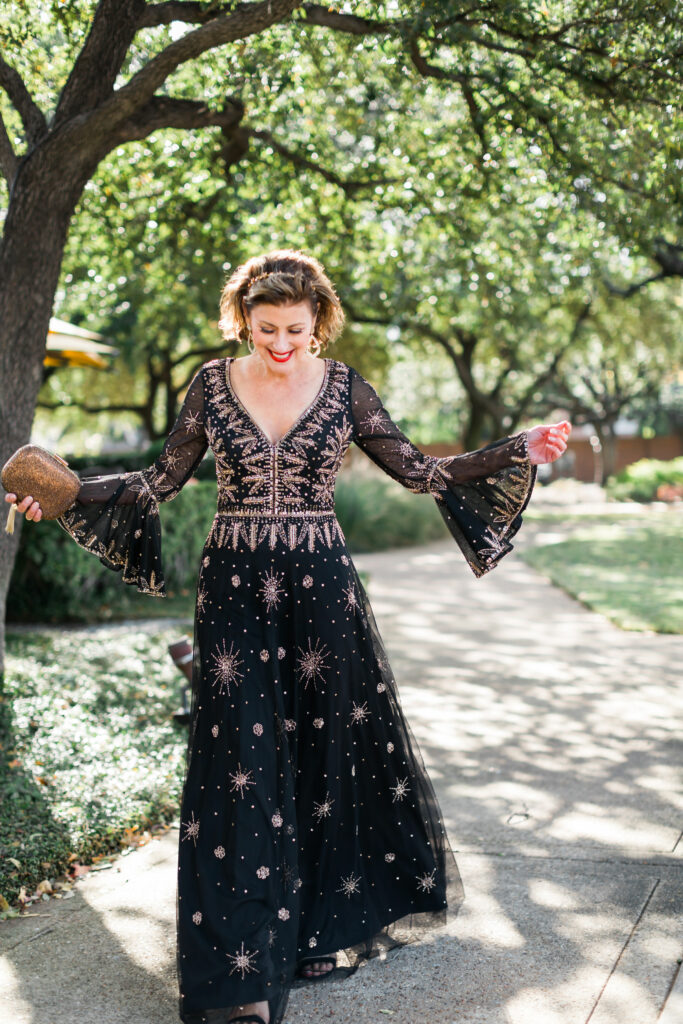 Basix Black Label dress with gold sequins on Dallas blogger