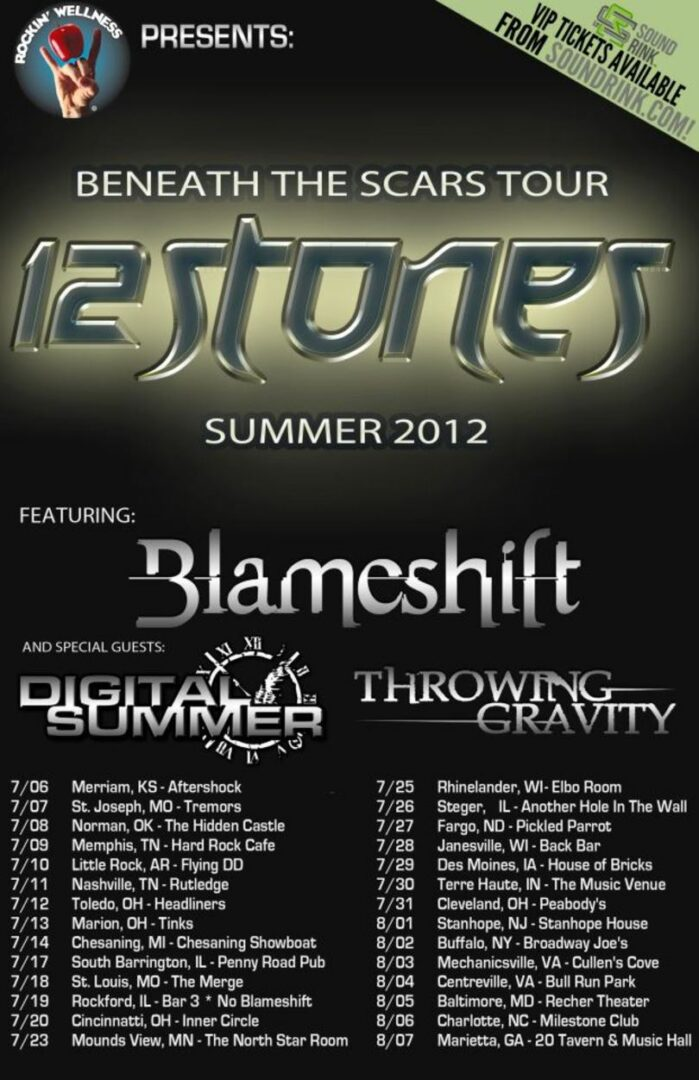 Blameshift – 2nd ROAD BLOG from the Beneath The Scars Tour with 12 Stones