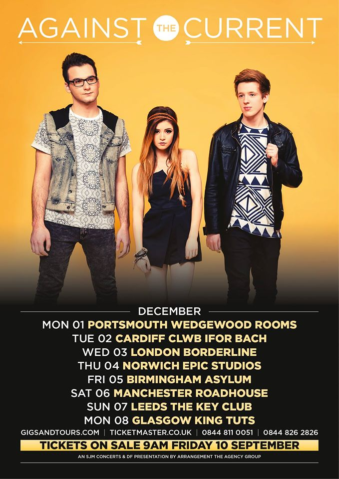 Against The Current December UK Tour 2014 - poster