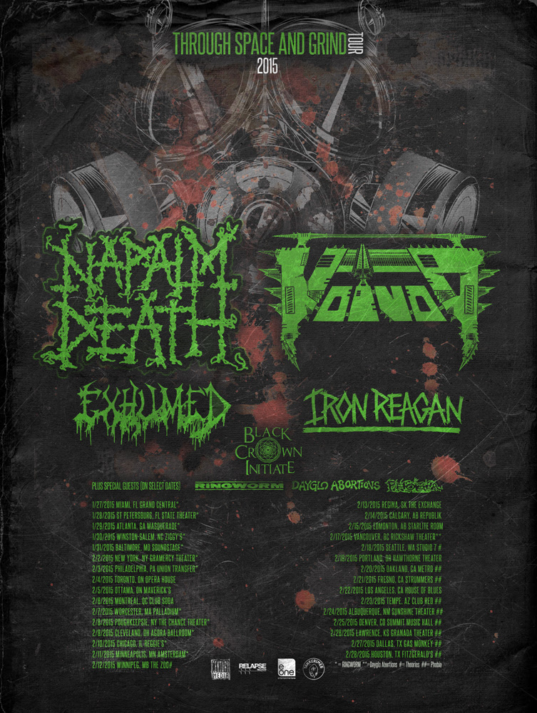 Napalm Death - Through Space And Grind Tour 2015 - poster