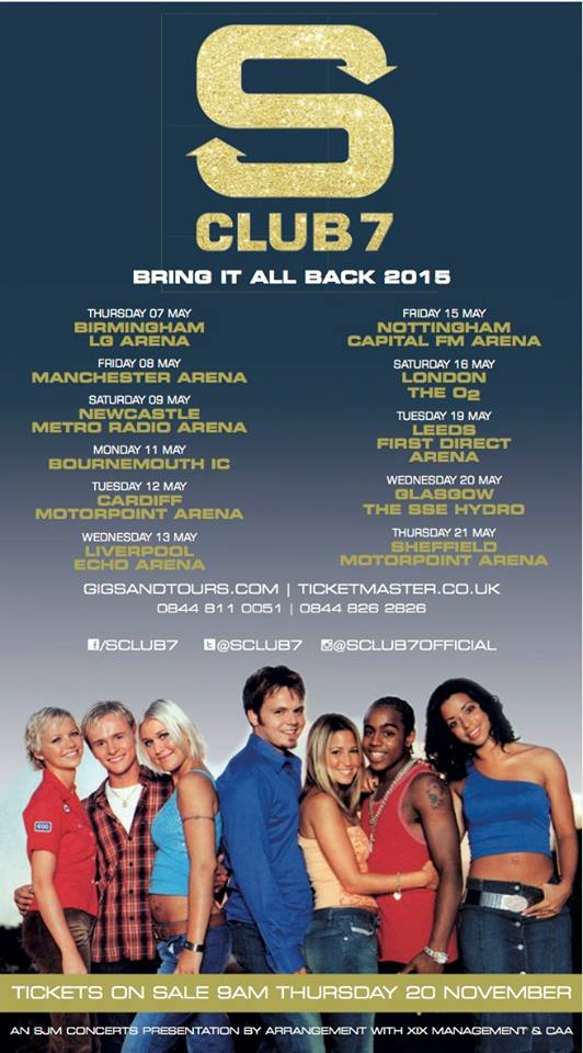 S Club 7 - Bring It All Back 2015 Tour - poster