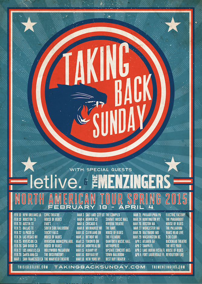 Taking Back Sunday - North American Tour 2015 - poster