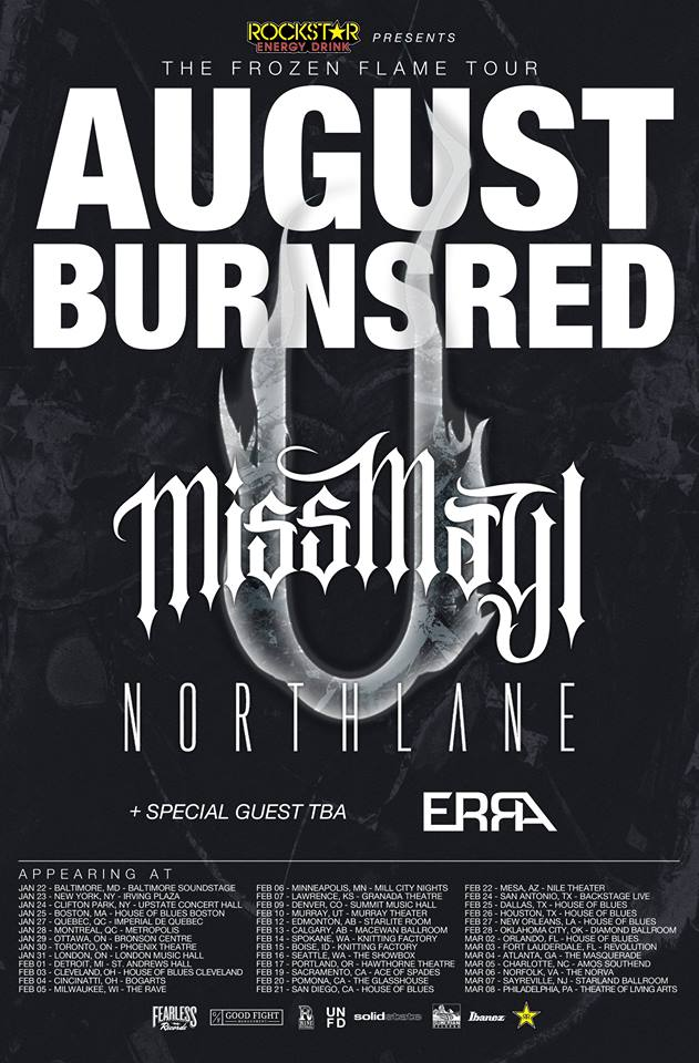 "August Burns Red's ""The Frozen Flame Tour"" with Miss May I – Ticket Giveaway"