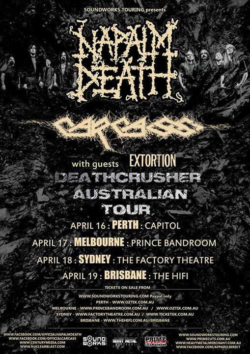 Napalm Death - Australian Tour With Carcass - poster