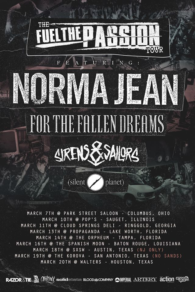 Norma Jean - The Fuel The Passion Tour 2015 - poster