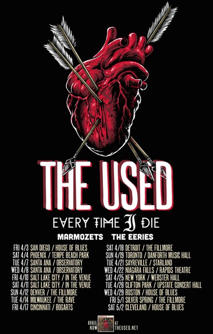 The Used - Spring North American Tour 2015 - poster