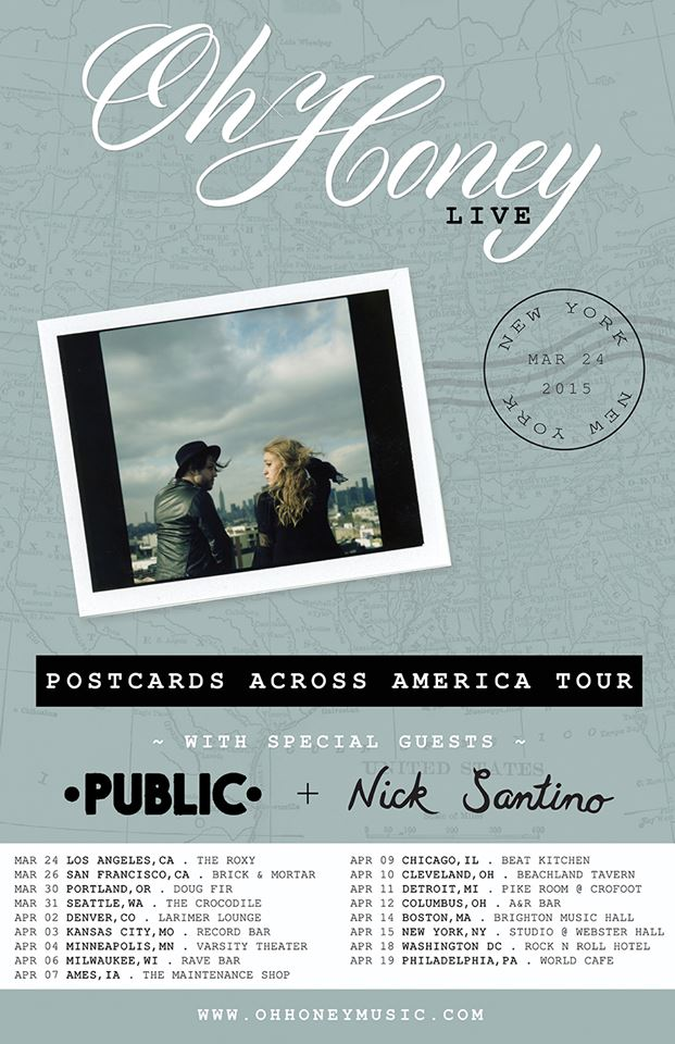 Oh Honey - Postcards Across America Tour - poster