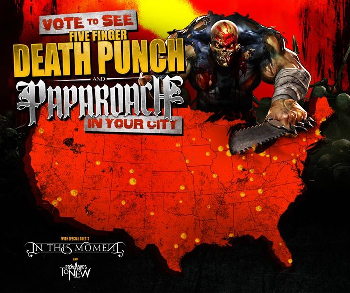Five Finger Death Punch - Co-headlining Tour With Papa Roach - poster
