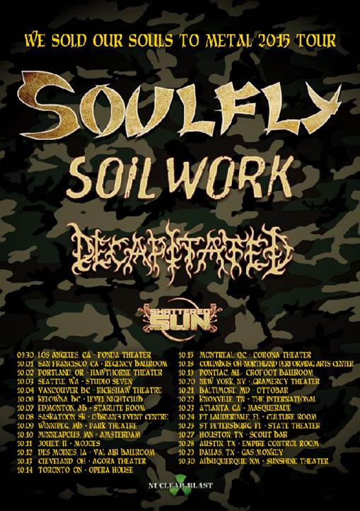 Soulfly - We Sold Our Soul To Metal 2015 Tour - poster