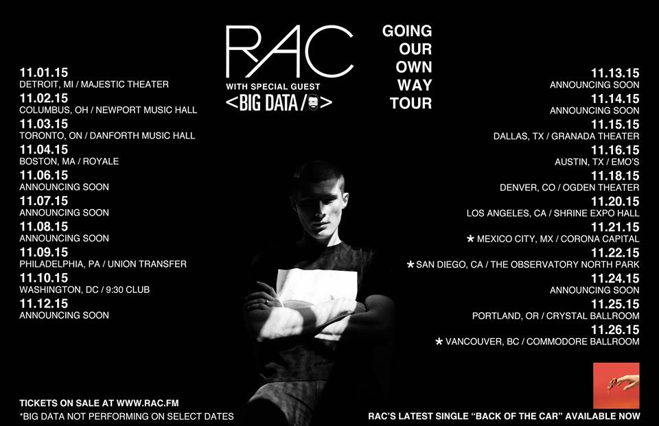 RAC - Going Our Own Way Tour 2015 - poster