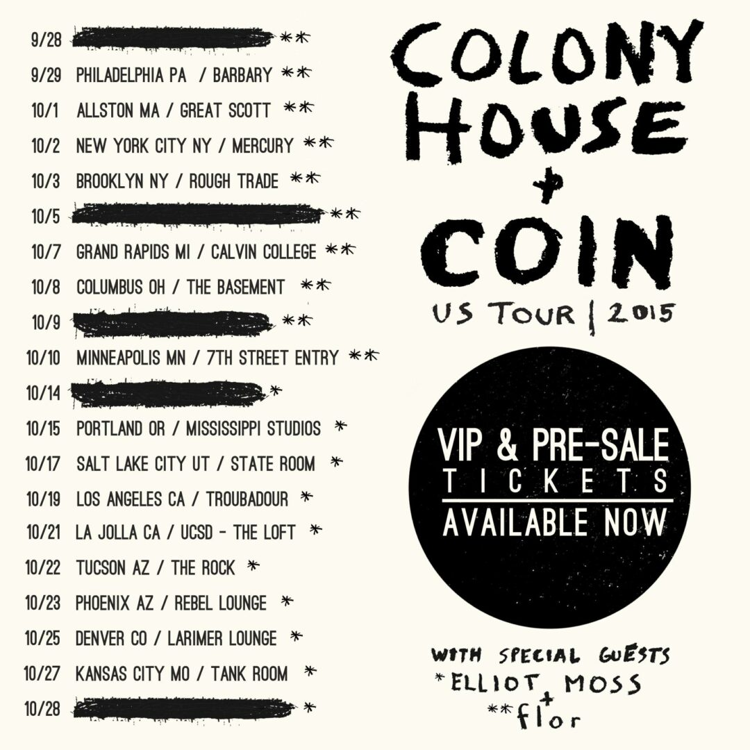 Colony House and Coin - Fall U.S. Tour - 2015 Tour Poster