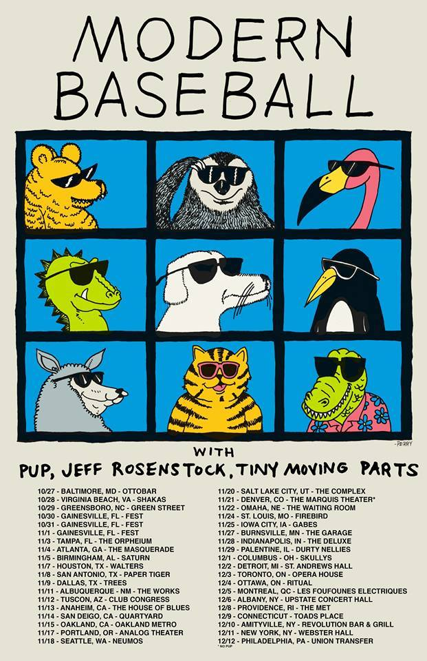 Modern Baseball - North American Winter 2015 Tour - poster