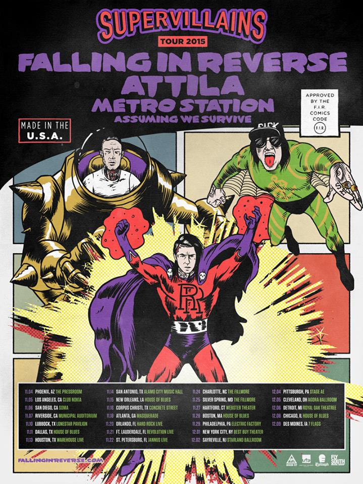 Falling In Reverse - Supervillains Tour 2015 - poster