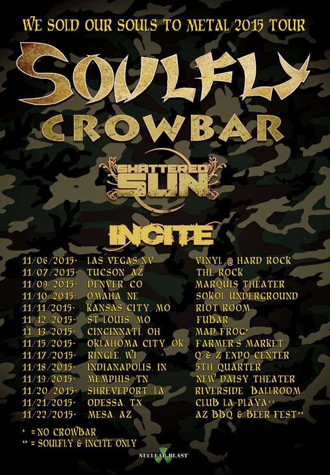 Soulfly - Second Leg of We Sold Our Souls To Metal Tour - poster