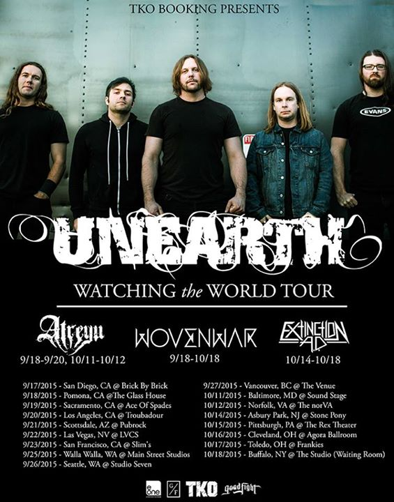 Unearth - The Watching the World North American Tour - 2015 Tour Poster