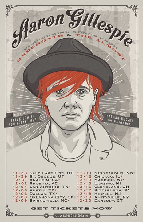 Aaron Gillespie - U.S. Fall Headlining Tour 2015 - poster