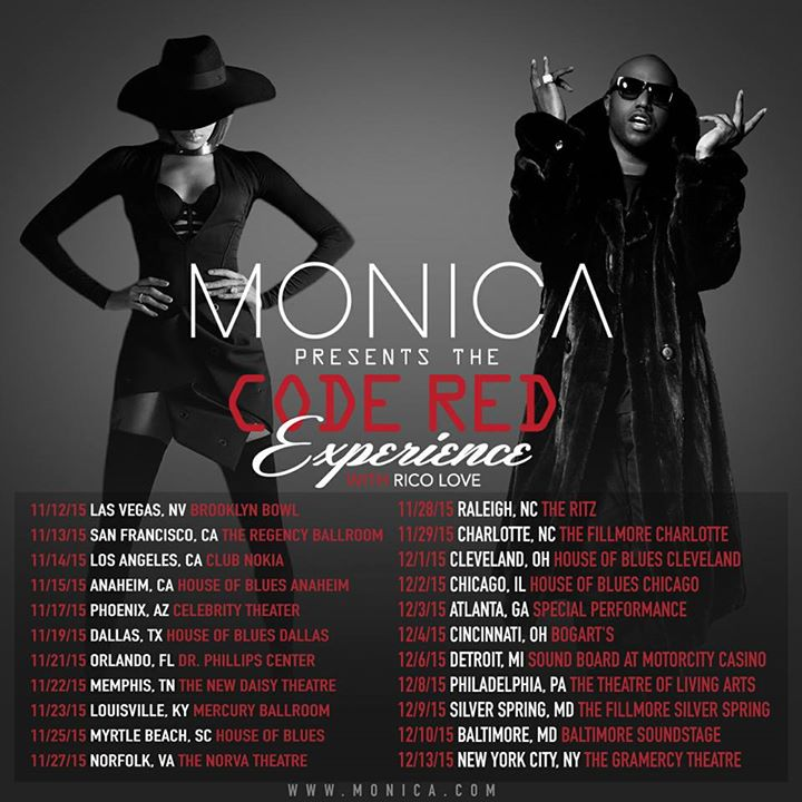 Monica - Code Red Experience Tour - 2015 Tour Poster