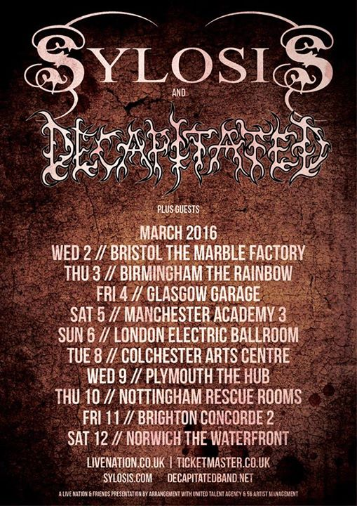 Decapitated and Sylosis - March 2016 UK Tour - 2016 Tour Poster