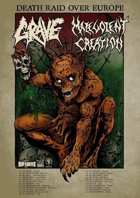 Grave and Malevolent Creation - Death Raid Over Europe Tour - poster
