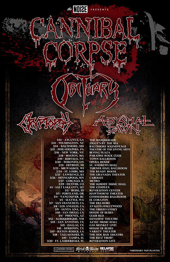 Cannibal Corpse - North American tour - poster