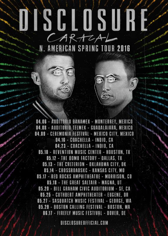 Disclosure - North American Spring Tour - 2016 Tour Poster