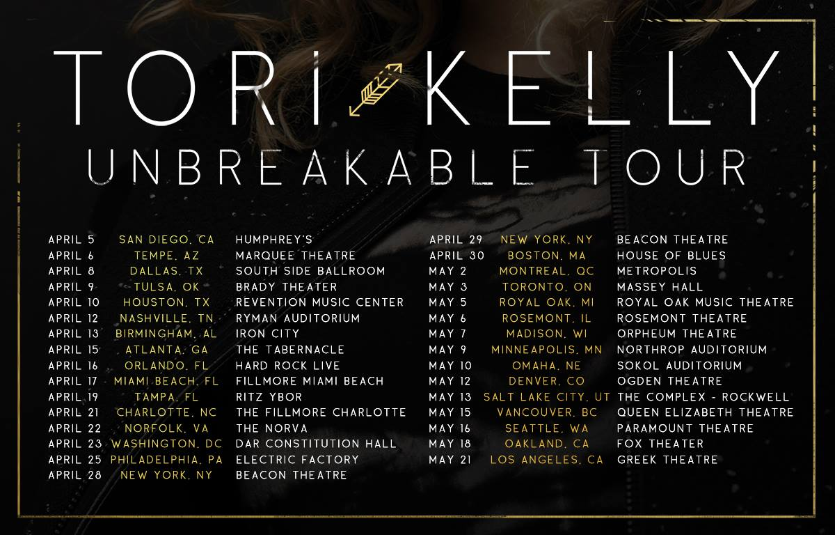 Tori Kelly - The North American Unbreakable Tour - 2016 Tour Poster