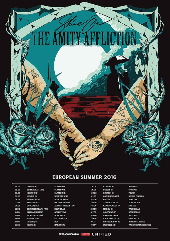 The Amity Affliction - European Summer 2016 Tour - poster