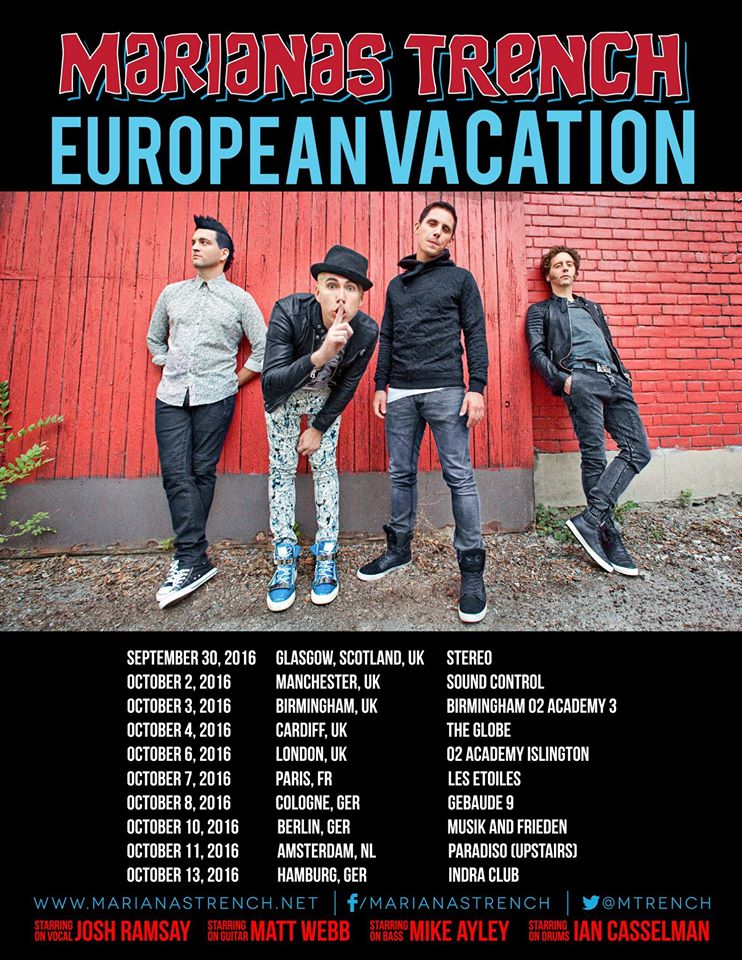 Marianas Trench - European Vacation Tour Poster -2016