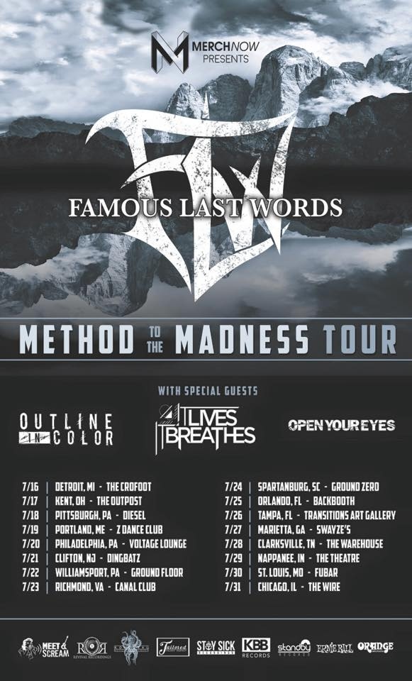 Famous Last Words - Method To The Madness Tour - poster