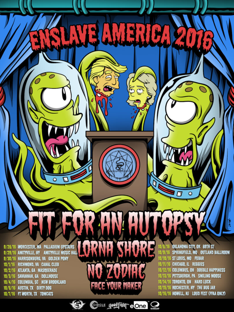 Fit For An Autopsy - North American Enslave America Tour - 2016 Tour Poster