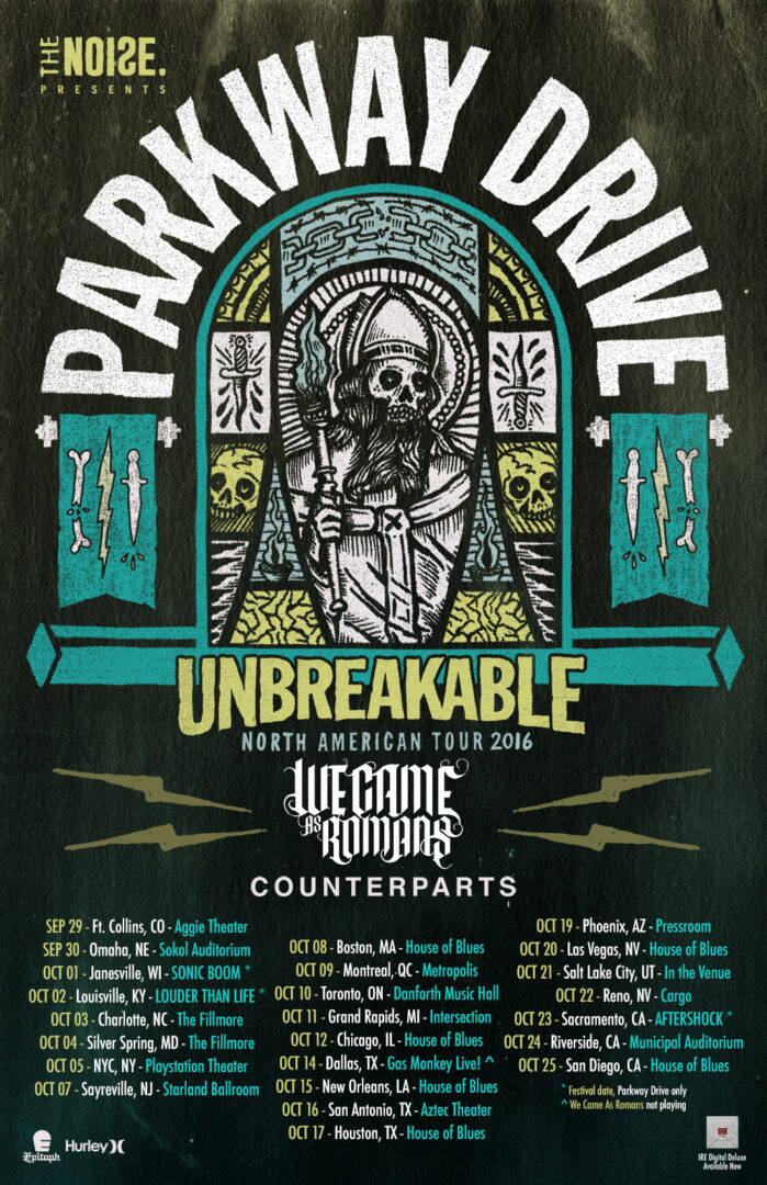 Parkway Drive - Unbreakable North American Tour - poster