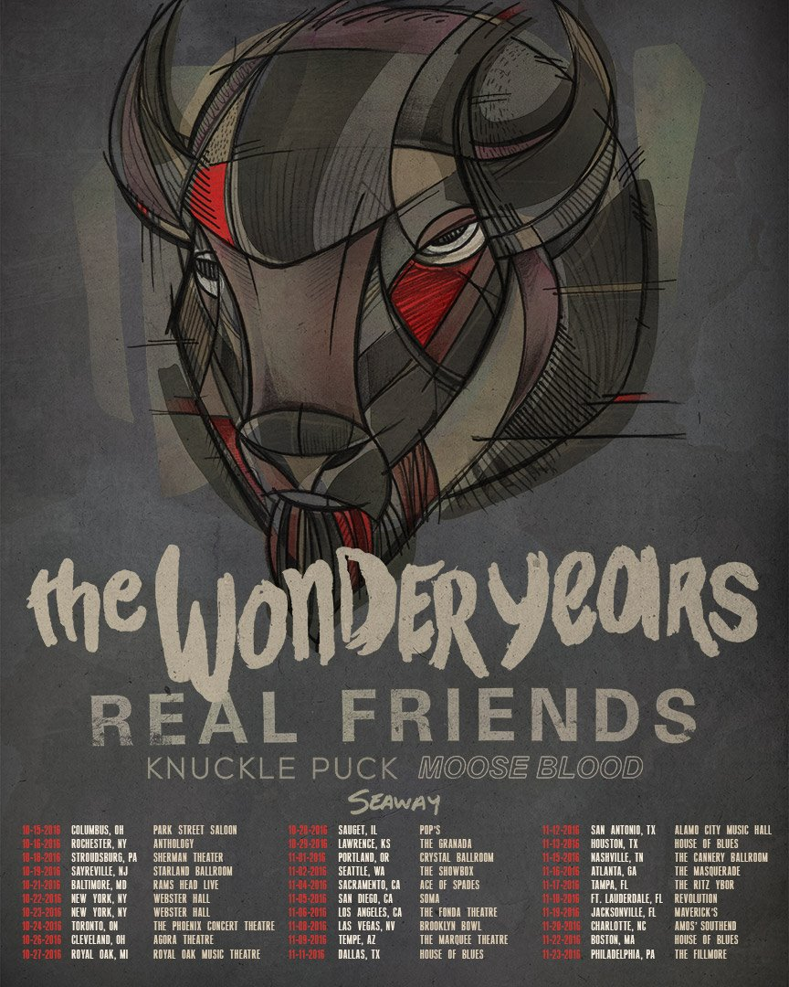 The Wonder Years - Fall North American Tour - 2016 Tour Poster
