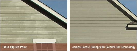 Comparison of standard paint finish with James Hardie ColorPlus Technology