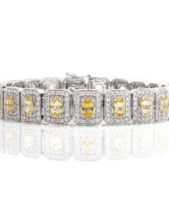 18k OVAL DIAMOND & YELLOW SAPPHIRE BRACELET Maddaloni Jewelers Long Island Jewelry