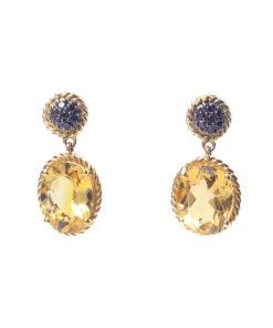 Citrine-Black Diamond Earrings