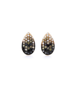14k BROWN, BLACK, & WHITE DIAMOND PEAR SHAPE EARRINGS