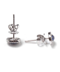 14k SAPPHIRE CLUSTER EARRINGS WITH DIAMOND HALO Maddaloni Jewelers Long island Jewelery