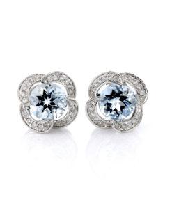 18K ROUND AQUAMARINE & DIAMOND PETAL EARRINGS