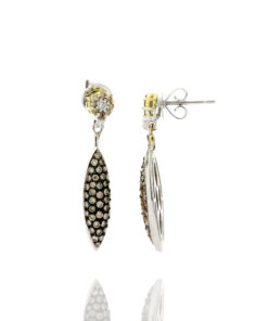 18k BROWN & WHITE DIAMOND DANGLE EARRINGS