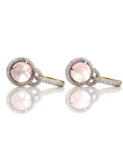 18k DIAMOND & CABOCHON ROSE QUARTZ EARRINGS
