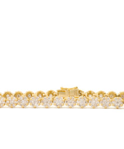 18k Yellow Gold Diamond Cluster Bracelet