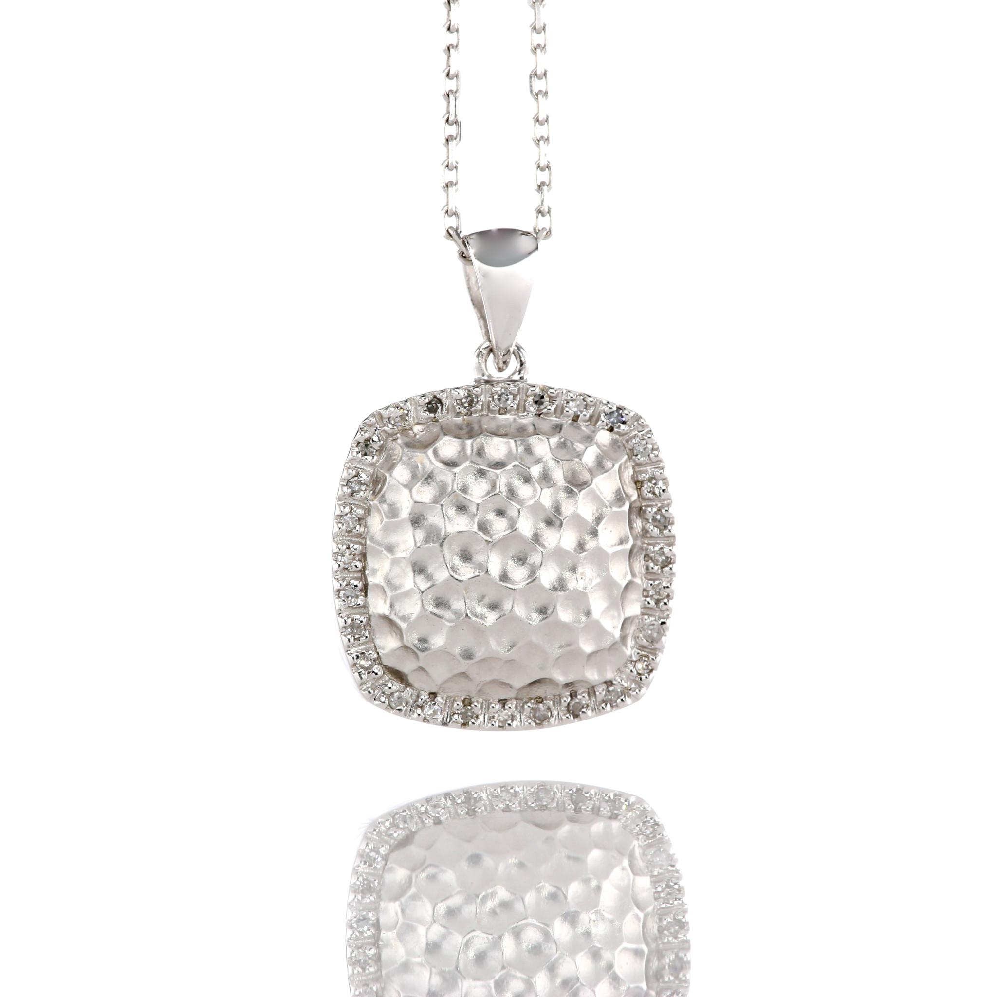 14K Diamond & Hammerd Gold Pendant