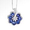 18k DIAMOND & SAPPHIRE FAN PENDANT Maddaloni Jewelers Long Island Jewelery
