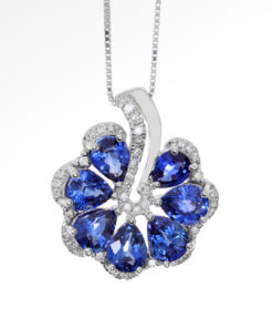 18k DIAMOND & SAPPHIRE FAN PENDANT Maddaloni Jewelers Long Island Jewelery