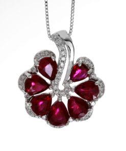 18k DIAMOND & RUBY FAN PENDANT Maddaloni Jewelers Long Island Jewelry