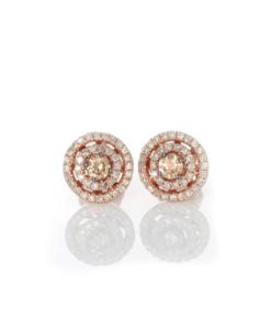 14k BROWN & WHITE DIAMOND DOUBLE HALO EARRING