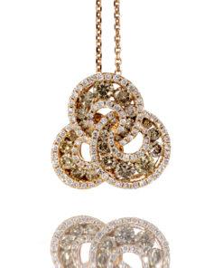18k BROWN & WHITE DIAMOND TRIPLE CIRCLE PENDANT Maddaloni jewelers Long Island Jewelry