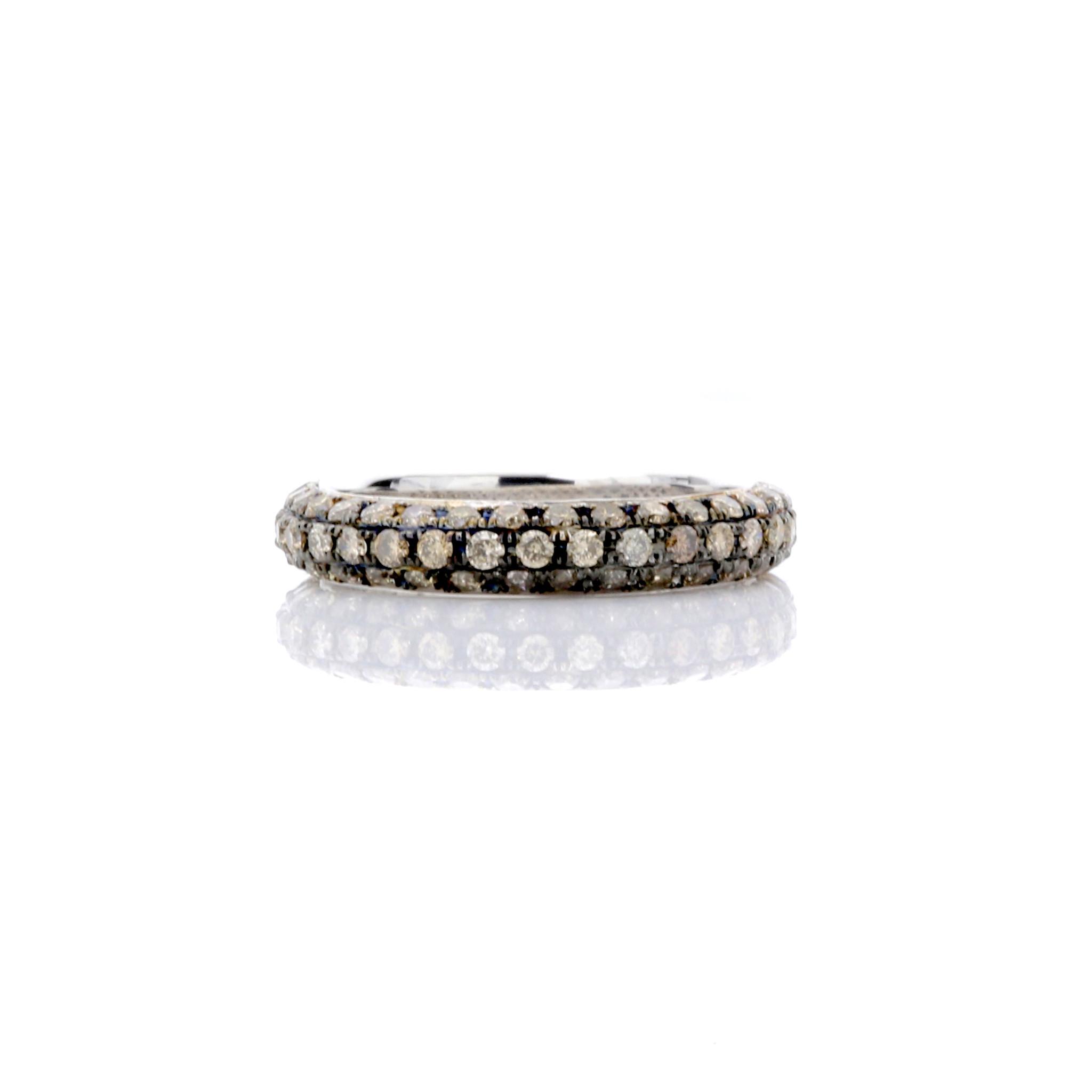 18k Rose Gold BROWN DIAMOND BAND RING 0.92ct