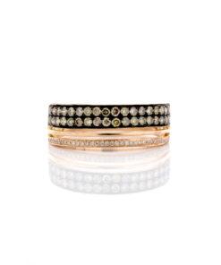 14k BROWN & WHITE DIAMOND RING